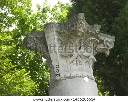 Travel view of Saint Sophie featuring capital stone Corinthian. The image location is Istanbul in Turkey Europe, Europe. #1466286614