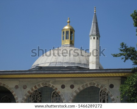 Travel view of Topkapi Palace featuring dome pinnacle. The image location is Istanbul in Turkey Europe, Europe. #1466289272
