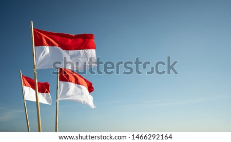 indonesia flags under blue sky independence day concept #1466292164