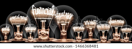 Large group of light bulbs with shining fibers in a shape of Financial Strategy, Vision, Business and Profit concept related words isolated on black background #1466368481