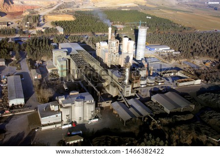 cement plant and buildings with aerial view angle #1466382422
