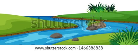 Landscape background with river in park illustration Royalty-Free Stock Photo #1466386838