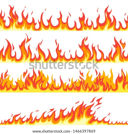 Seamless fire flame. Fires flaming pattern, flammable line blaze hot temperature, gas blazing wallpaper cartoon firewall textured frames set