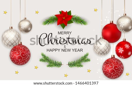 Merry Christmas and New Year Background. Vector Illustration EPS10 Royalty-Free Stock Photo #1466401397