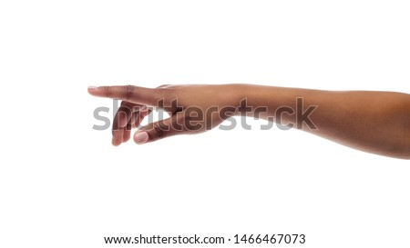 Afro girl's hand touching virtual screen isolated on white studio background. Free space, panorama #1466467073