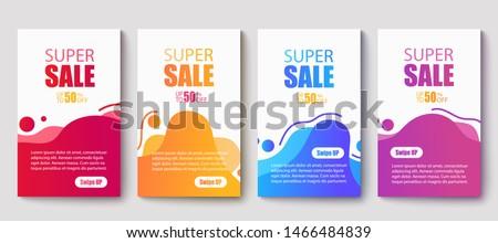 Dynamic modern fluid mobile for sale banners. Sale banner template design, Super sale special offer set.Vector illustration #1466484839