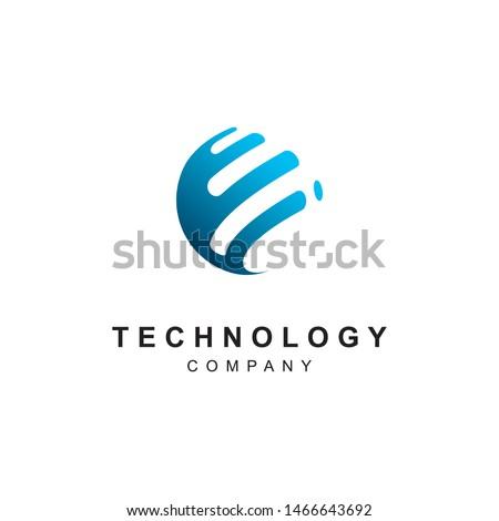 Technology logo design.Abstract tech icon vector template #1466643692