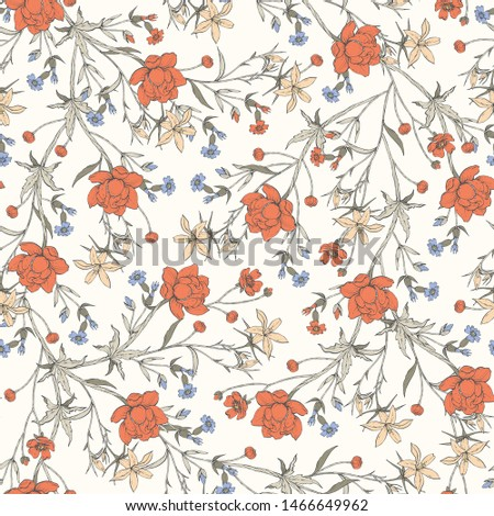 Seamless vector pattern with gentle wild flowers #1466649962