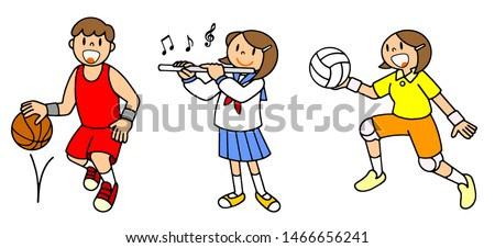 People School life Club activities Basketball Winds Volleyball Illustration