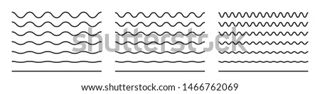 Wave line and wavy zigzag pattern lines. Vector black underlines, smooth end squiggly horizontal curvy squiggles #1466762069