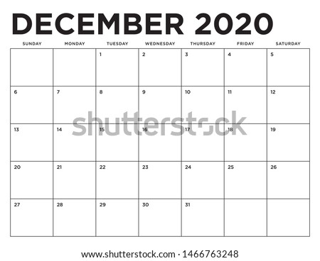 December Bold 2020 Letter Size Horizontal Landscape Wall Calendar Royalty-Free Stock Photo #1466763248