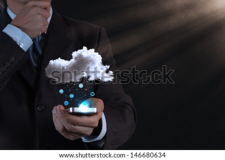 Businessman hand working with a Cloud Computing diagram on the new computer interface as concept #146680634