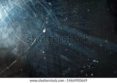 white dust and scratches on a black background. The texture of dirt on the glass. #1466900669