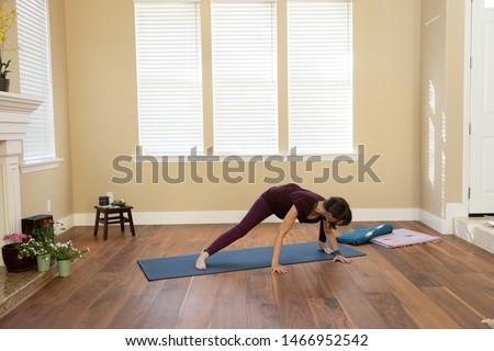 Yoga pose spiderman side lunge left