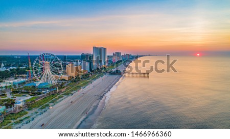 Myrtle Beach South Carolina Drone Skyline Aerial. #1466966360