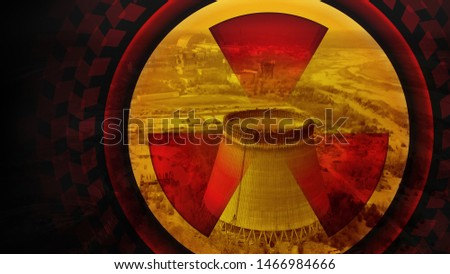 Chernobyl reactor. Blank for design with copy space. Close up radiation sign. Conceptual illustration of Chernobyl disaster. Blank for postcards. Chernobyl nuclear power plant. Black yellow red colors #1466984666