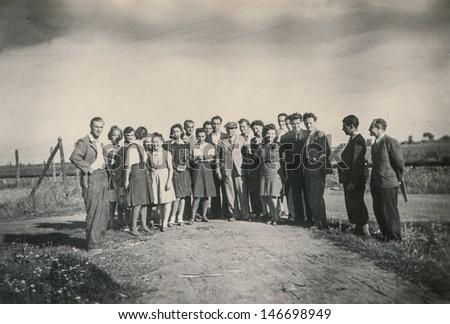 RAWICZ, POLAND, CIRCA THIRTIES - vintage photo of group of people outdoor, Rawicz, Poland, circa thirties #146698949