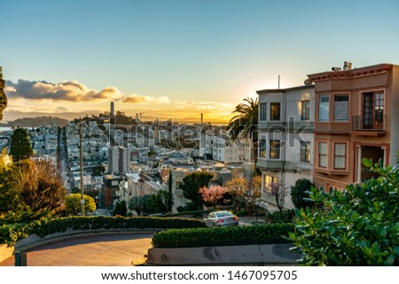 The crookedest street in the world Lombard street at  dawn. San Francisco is lightened by morning sun. #1467095705