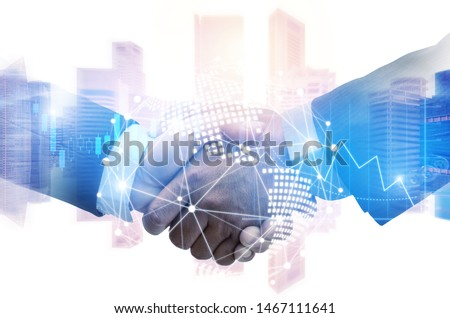 Partner. investor business man handshake with partner for successful project meeting with world map global network link connection and city background, investment, partnership and teamwork concept #1467111641