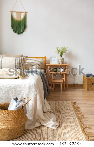 interior of stylish loft. spacious apartment with large windows, parquet on the floor and light walls. modern furniture in blue Scandinavian style. free space planning with sitting area and rest area #1467197864
