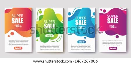 Dynamic modern fluid mobile for sale banners. Sale banner template design, Super sale special offer set.Vector illustration #1467267806