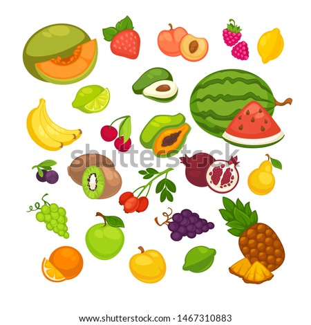 Fresh fruits icons set. Collection of  sweet vegetarian food illustration pear and strawberry, orange, apple and banana, peach, lemon and watermelon, pineapple and papaya. Healthy symbols #1467310883