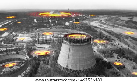Chernobyl nuclear power plant. Radiation contamination area near Chernobyl reactor. Symbol of radiation on the background of the cooling tower in Chernobyl. Chernobyl concept - black and white. #1467536189