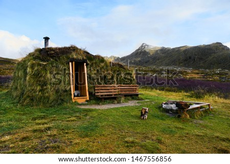 Wooden cabin covered with grass on Lofoten Islands in Norway #1467556856