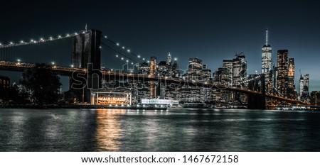 Brooklyn Bridge long exposure during evening rush hour #1467672158