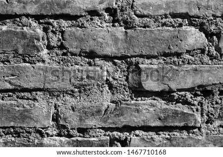 Detail of a brick wall and cement mortar #1467710168