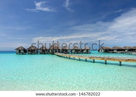 Beautiful beach with water bungalows at Maldives #146782022