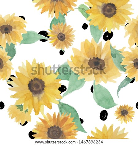 Beautiful seamless pattern with sunflowers and leaf on white background. #1467896234