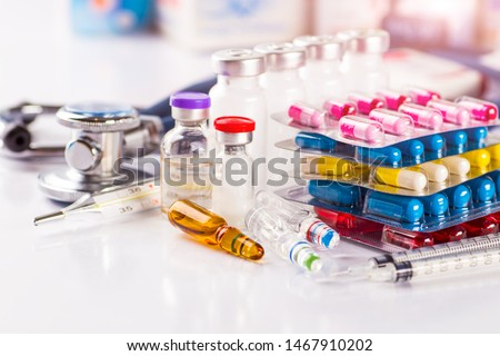 Drug prescription for treatment medication. Pharmaceutical medicament, cure in container for health. Pharmacy theme, capsule pills with medicine antibiotic in packages. Royalty-Free Stock Photo #1467910202