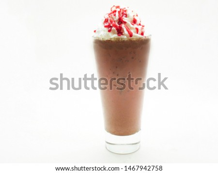 ice chocolate blended with whip cream top strawberry syrup in tall glass. #1467942758