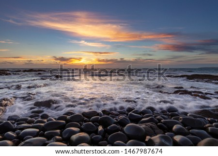 Seascape of Westward Ho! beach in North Devon. UK Royalty-Free Stock Photo #1467987674