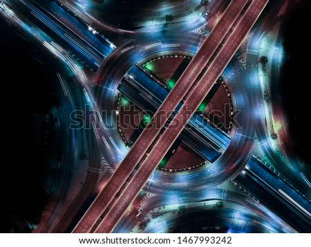 Modern transportation with Expressway, Road and Roundabout, multilevel junction highway-Top view. Important infrastructure. #1467993242