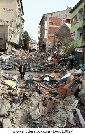 VAN, TURKEY - OCTOBER 25: Buildings ruined during the earthquake of Van-Ercis on October 25, 2011 in Van, Turkey. It is 604 killed and 4152 injured in Van-Ercis Earthquake. #146813027