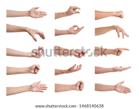 Set of people showing different gestures on white background, closeup view of hands  #1468140638