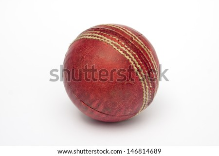 A used cricket ball isolated on white #146814689