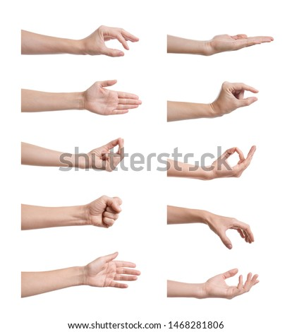 Set of woman showing different gestures on white background, closeup view of hands  #1468281806