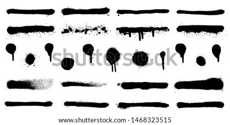 Big set of graffiti spray banner. Vector spray paint shapes in black on white background #1468323515