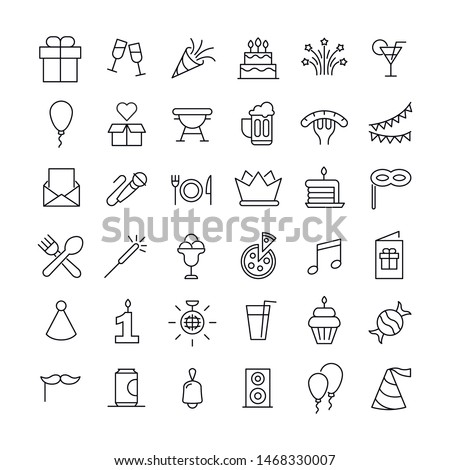 Premium set of Birthday line icons. Web symbols for web sites and mobile app. Modern vector symbols, isolated on a white background. Simple thin line signs.