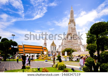 Bangkok,Thailand - July,17,2019 :Pagoda at Wat Arun temple, One of the famous temple in Thailand , This temple has many foreign visitors visiting each day, Bangkok , Thailand. #1468347119