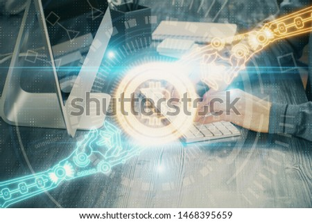 Blockchain theme hud with businessman working on computer on background. Concept of crypto chain. Multi exposure. #1468395659