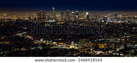 City of Los Angeles night skyline cityscape