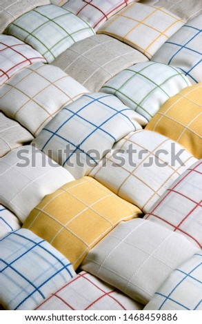 Rag composition seen diagonally creating a multitude of rags together #1468459886