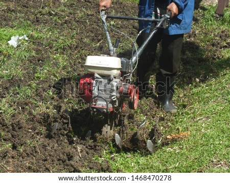 Farmer plowing the land in the garden with a hand tractor cultivator,Soil cultivation.  #1468470278
