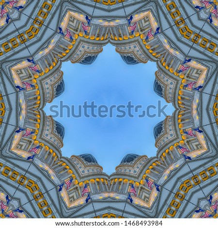 Square frame Fractal design circular star with capital building #1468493984