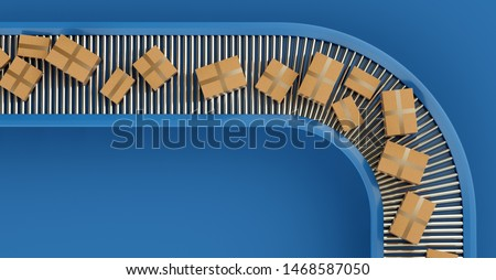 Conveyor belt with orders. Automatic mechanized logistics. 3D Illustration. Royalty-Free Stock Photo #1468587050