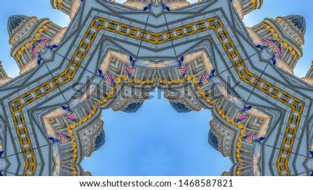 Panorama frame Fractal design circular star with capital building #1468587821
